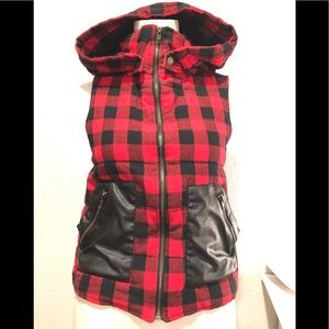 Plaid Flannel Hoodie-sleeveless & removable hood S